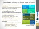 administrative and governance issues