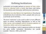 defining institutions