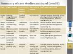 summary of case studies analyzed cont d