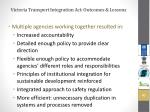 victoria transport integration act outcomes lessons