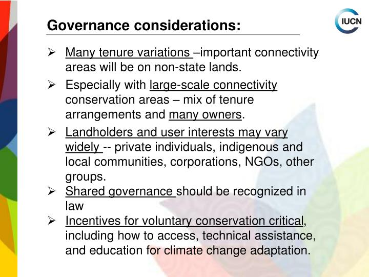 Governance considerations: