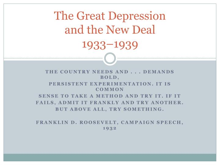 the great depression and the new deal 1933 1939 n.