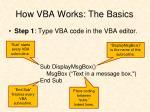 how vba works the basics