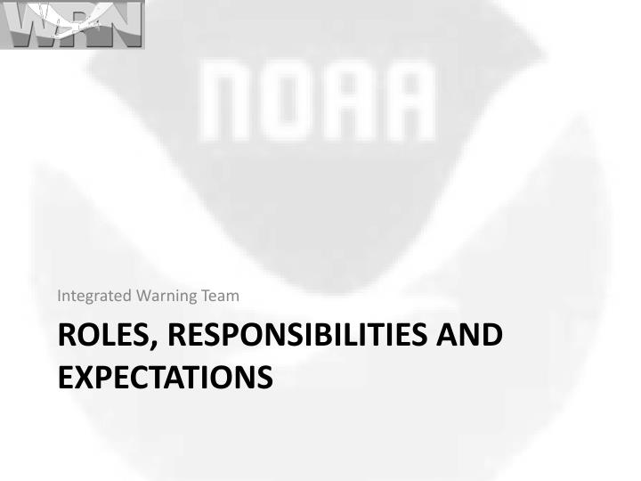 Roles responsibilities and expectations