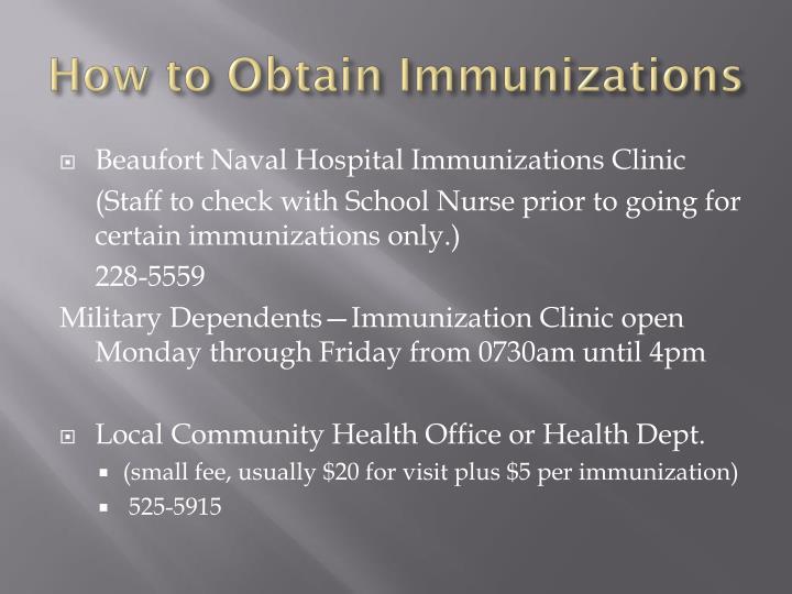 How to Obtain Immunizations