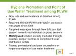 hygiene promotion and point of use water treatment among plwh