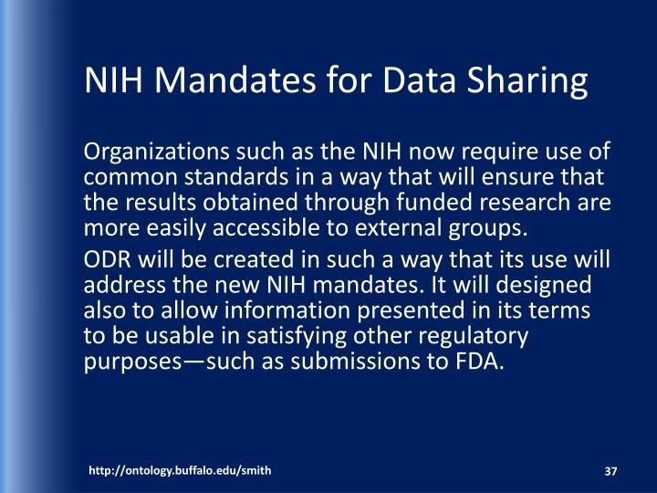 NIH Mandates for Data Sharing