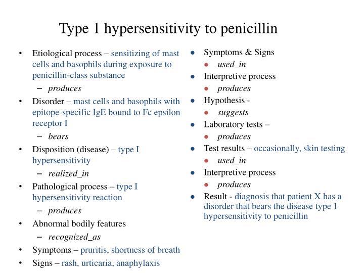 Type 1 hypersensitivity to penicillin