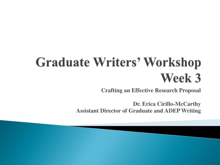 graduate writers workshop week 3 n.