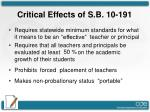 critical effects of s b 10 191