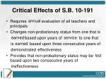 critical effects of s b 10 1911