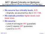 mc 2 m ixed c riticality on m ulti c ore our proposed mixed criticality architecture joint with ngc