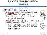 spare capacity reclamation summary