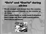 do s and don ts during sit ins