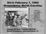 sit in february 1 1960 greensboro north carolina