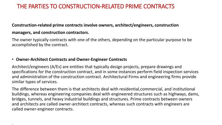 the parties to construction related prime contracts n.