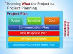 knowing what the project is project planning