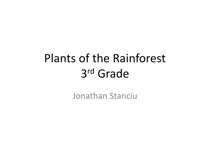 plants of the rainforest 3 rd grade n.