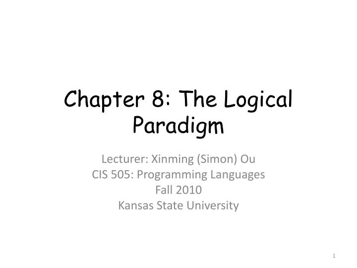 chapter 8 the logical paradigm n.