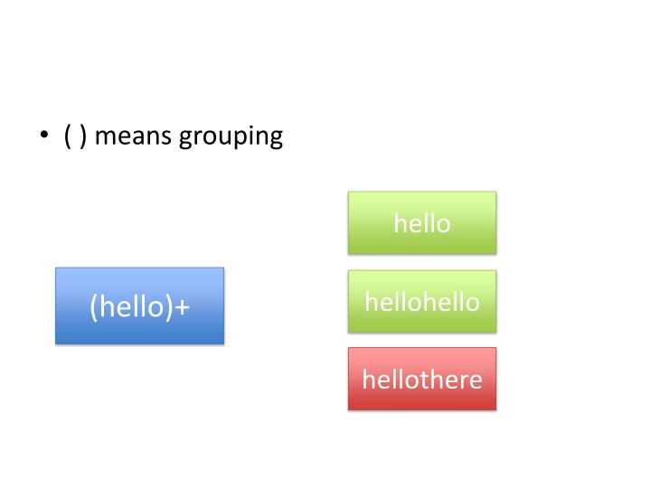 ( ) means grouping