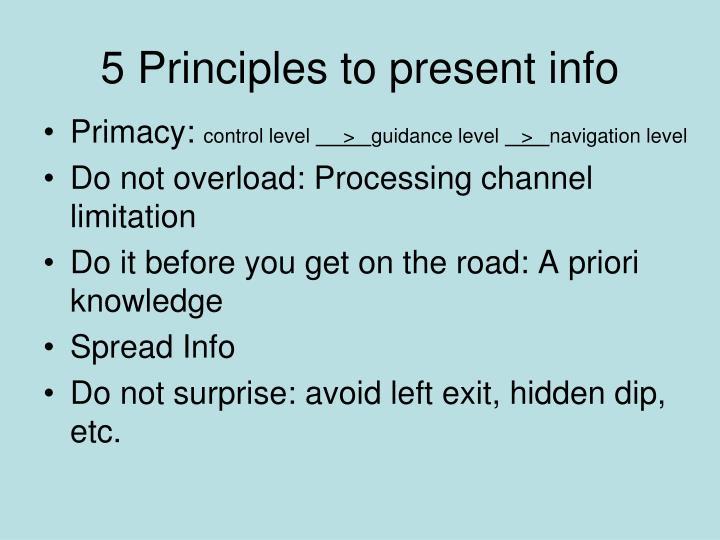 5 Principles to present info