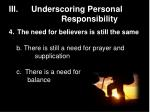 iii underscoring personal responsibility8