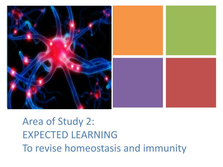 area of study 2 expected learning to revise homeostasis and immunity n.