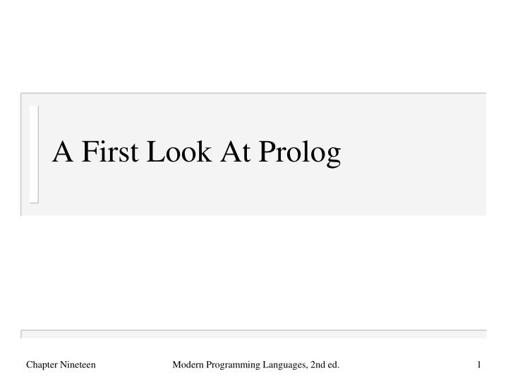 a first look at prolog n.