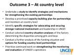 outcome 3 at country level