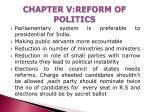 chapter v reform of politics