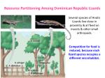 resource partitioning among dominican republic lizards