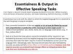 essentialness output in effective speaking tasks