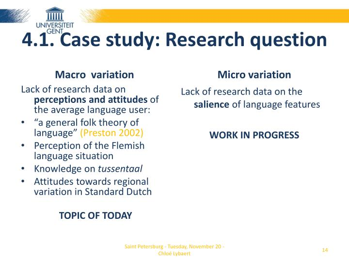 4.1. Case study: Research question