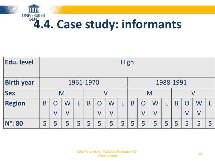 4.4. Case study: informants