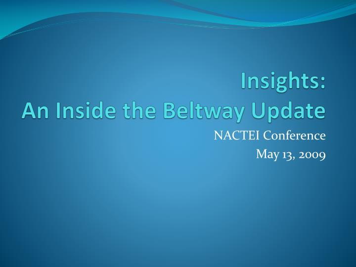 insights an inside the beltway update n.