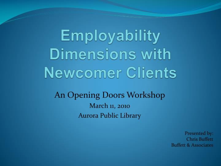 employability dimensions with newcomer clients n.