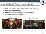 international events workshops