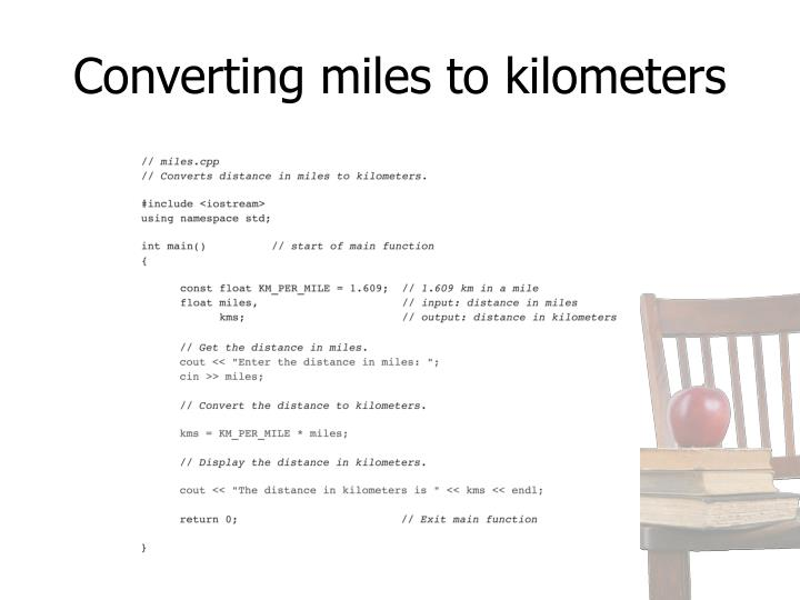 Converting miles to kilometers