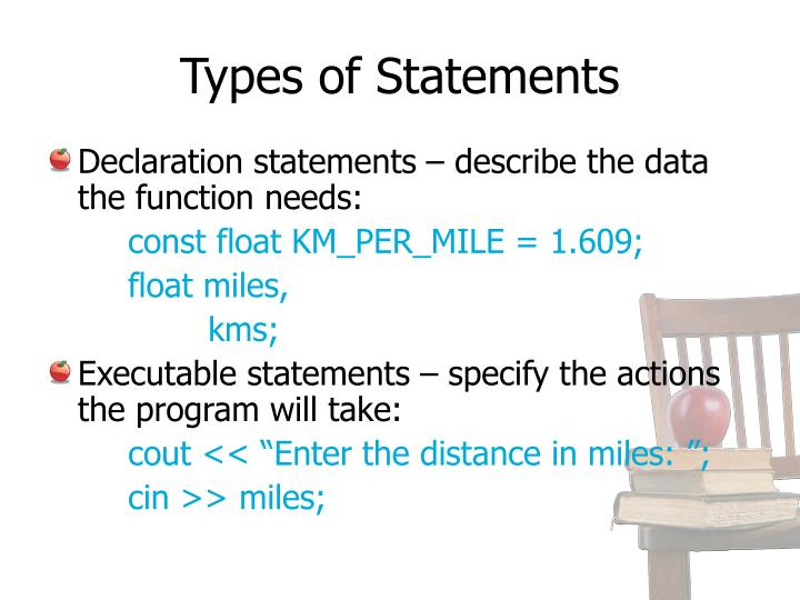 Types of Statements
