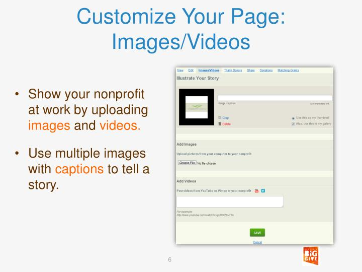 Customize Your Page: Images/Videos