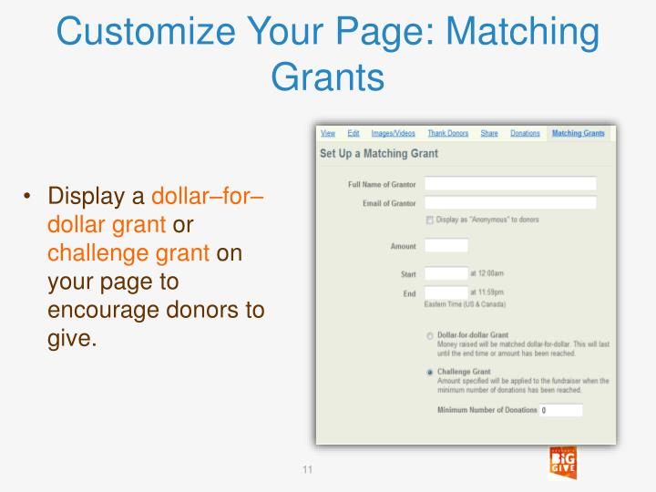 Customize Your Page: Matching Grants