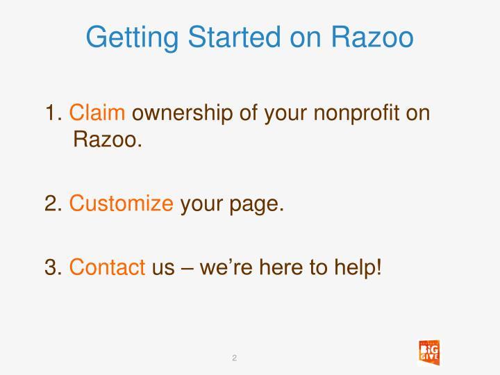 Getting started on razoo