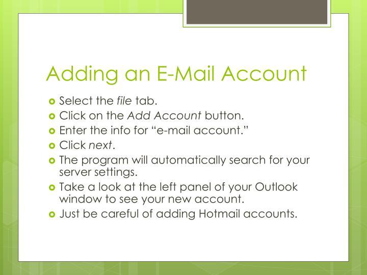 Adding an e mail account