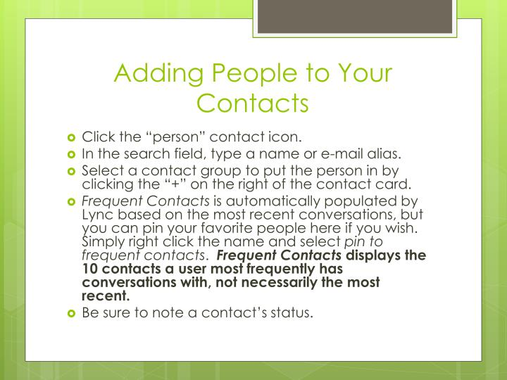 Adding People to Your Contacts