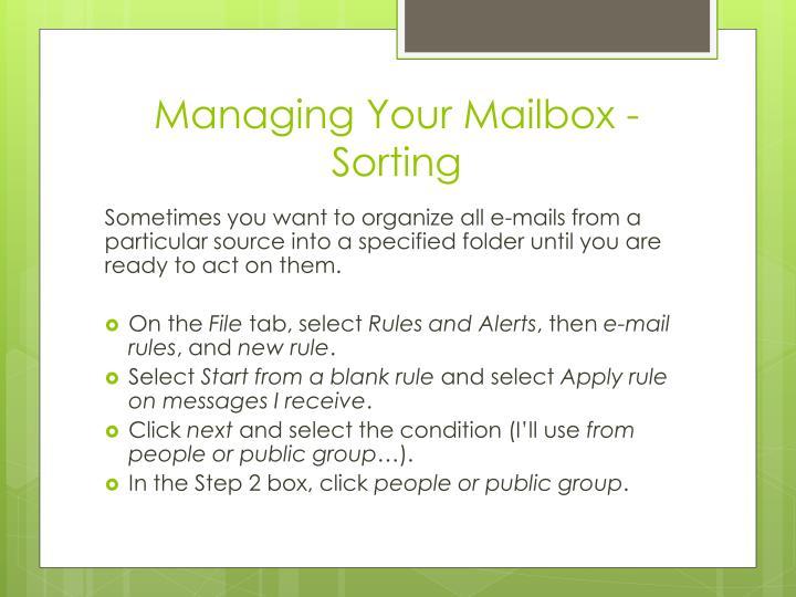 Managing Your Mailbox - Sorting