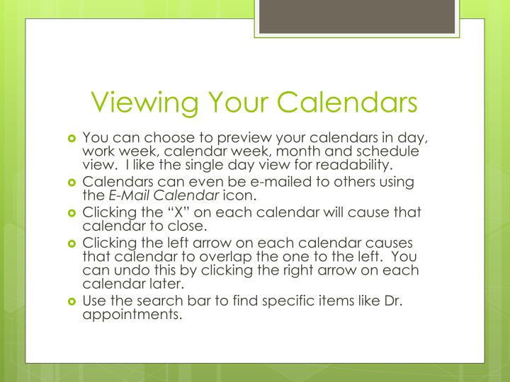 Viewing Your Calendars