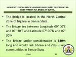 highlights on the major highways investment opportunities river katsina ala bridge at buruku