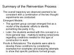 summary of the reinvention process