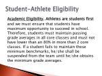 student athlete eligibility