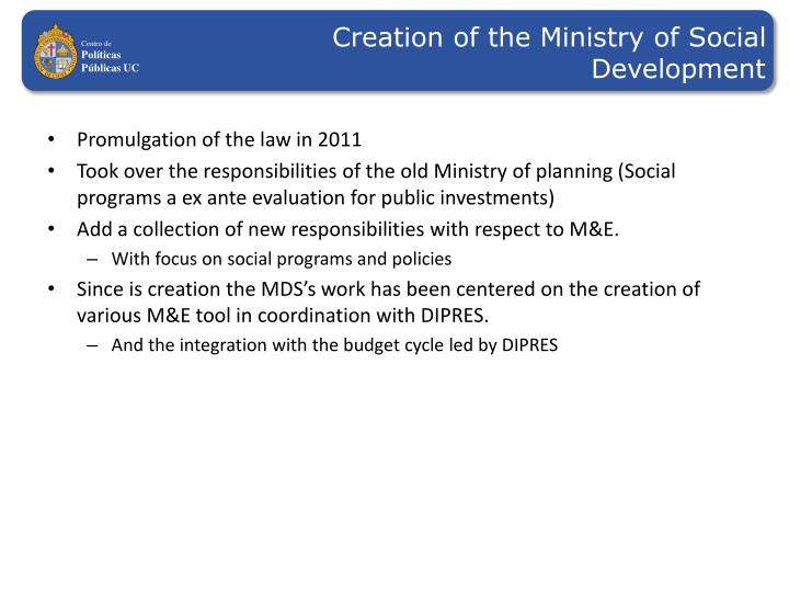 Creation of the Ministry of Social Development